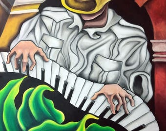 "18""x24"" Original Oil Painting on Stretched Canvas. Miguez Cuban Art. Guajiro al Piano. READY TO HANG. Music Jazz Salsa Classic Keyboard"
