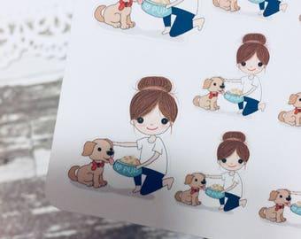 Feeding Dog Sticker | Take Care Dog Sticker | Dog Sitter Sticker | Planner Girl Sticker | 0035