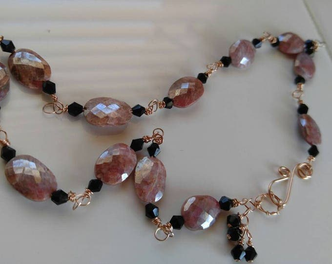 Pink sapphire choker, rose gold hand-made necklace. Hand wrapped rose gold pink silverite choker 17 inches long. Pink and black.