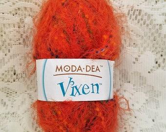 Novelty Fashion Yarn, Moda Dea Vixen, One Skein, Orange You Glad, Bulky Weight, 89 Yards, 1.76 oz