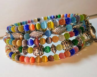 Boho Chic Memory Wire Bracelet