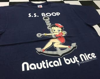 Vintage Betty boop t shirt ss boop nautical but nice sailor girl Size XL Made in usa