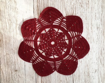 red lace doily, red maroon crochet doily, dark red table decor, cotton lace drink coaster, lace table topper, red crochet vase pad, handmade
