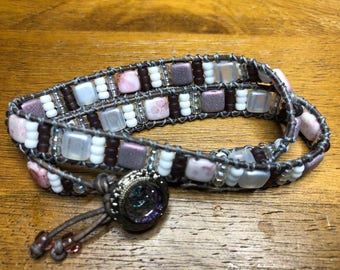 Pink and White Leather Wrap Bracelet