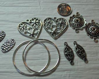 Earring dangles, silver tone, findings, destash, hoops, jewelry supplies