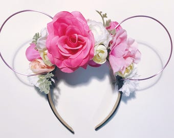 Pink floral Ears