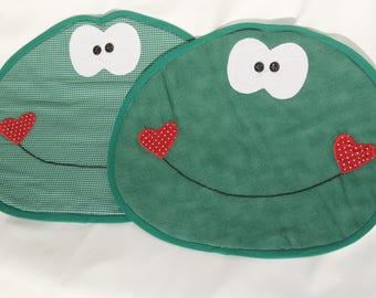 Kids place mats pattern frog fun fabric