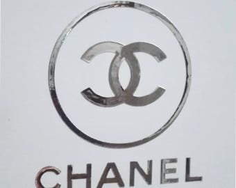 "Chanel round  1,5""- 15"" designer inspired  stickers /  decal  stickers logo  autocollant"
