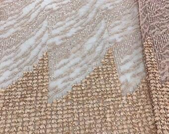 Peach heavily beaded bridal fabric- 5 yards