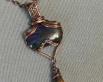 Copper wire wrapped labradorite gemstone pendant