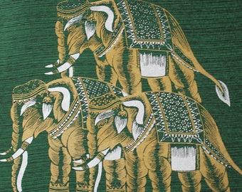 Handmade Thai Silk Screen Art Panel, Thai Silk Elephant Wall Decor, Green and Gold, Silk Screen Art Picture, DIY Thai Silk Pillow  (TSP-201)