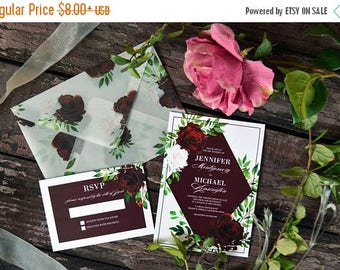 10OFF Geometrical Wedding Invitation, Marsala Wedding Invitations, Floral Watercolor Invites, Vellum