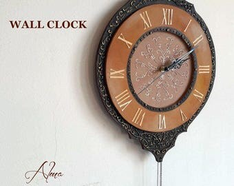 RUSTIC WALL CLOCK , Ornaments,  Unique Gift , Sculptural Painting , Wall Clock , Interior Design