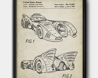 Batmobile · Batman · Patent · Instant Download · 1990 · Vintage · Digital #148