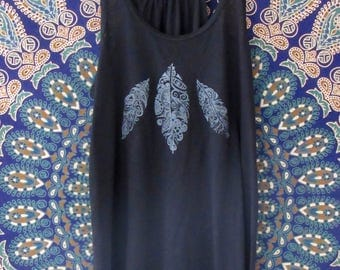 Feathers Womens Tank in Black - Graphic Tank - Screen Printed Designs with Eco-Friendly Ink