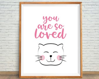 Pink Nursery Cat, You Are So Loved Cat Print, Baby Girl Room Decor, Pink Nursery Decor, Cute Cat Shower Gift, Cat Wall Decor, Cat Wall Art