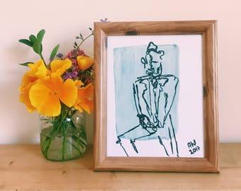 Baby Blue Figurative Print | Framed Art | Illustration of a Man | Annabel Wyatt Art | 25 X 20cm | Home Decor