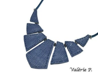 Imitation fabric bib necklace jeans worn out of polymer clay