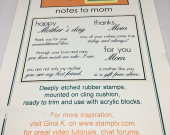 Notes to Mom Rubber Stamp set / Scrapbooking / Card Making Supplies / Art and Crafts / Gina K / Mother Stamps