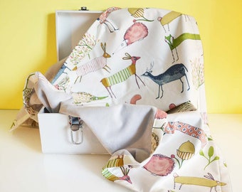 """Forest animals"" cotton and minky baby blanket"