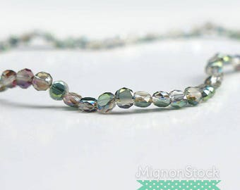 Flat beads - Glass, Pearl gray - acrylic (Dimensions: 6 x 3.5 mm)