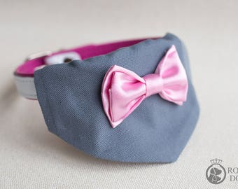 Grey & Pink Over The Collar Bandana With Bow Tie | Christmas Neckerchief | Pink Bow Tie Bandana | Luxury Puppy Gift | Cotton Neckerchief
