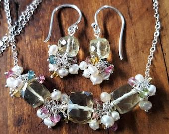 Tourmaline And Lemon Quartz Necklace Set, Lemon Quartz Jewelry, Multi Color Tourmaline, Multi Gemstone Jewelry, Cluster Earrings