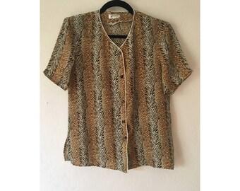 Leopard Print Blouse/ Leopard Print Shirt/ Animal Print Shirt/ Striped Shirt/ Zebra Print Shirt/ Vintage Shirt/ Sheer Blouse/ Medium Blouse