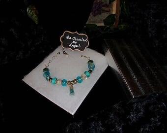 Blue Bottle European Style Charm Bracelet #43, Women's Bracelet, Girl's Bracelet, Charm Bracelet, Blue, White #43