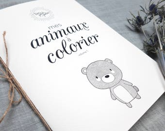 Coloring book, 8 pages - three little friends - Vol 1 - babies, children and adults-three little friends