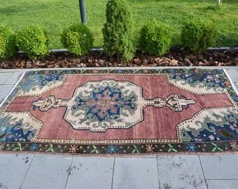 VERY RARE Vintage Rose Carpet Rug Bright Color Rug Area Rugs Turkish Rug  Designer 4.3u0027