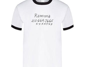 Ramona Flowers Phone No. - Scott Pilgrim Vs The World -  T Shirt