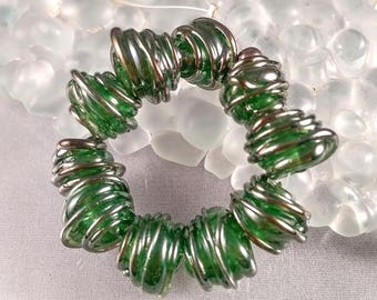 CALIENTE ART GLASS - Silver Green lampwork tornado spacer beads - sra