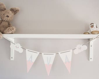 Wooden name bunting, Personalised name bunting, Christening gift, New baby present, wooden bunting, baby shower, cloud nursery decor