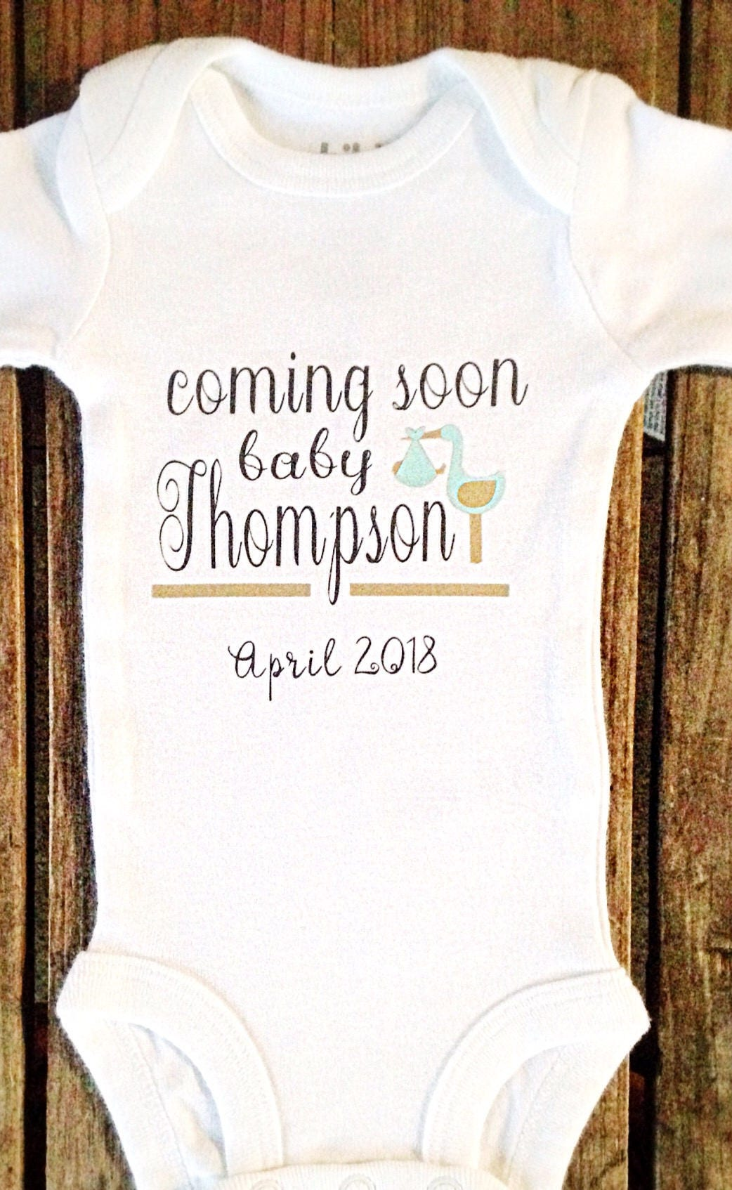 Baby announcement onesie custom baby onesie baby on the way – Coming Soon Baby Announcements