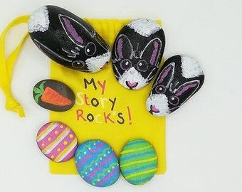 bunny family story stones