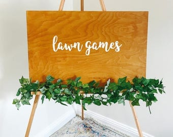 Wooden lawn games sign // bespoke signs // rustic wedding decor // wedding signs // wood signage