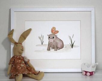 A4 Nursery Art Print Baby Christening Decor safari baby hippo