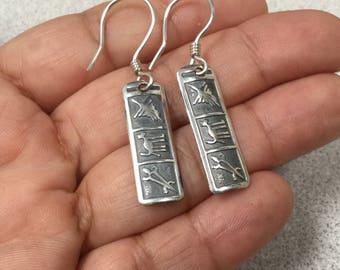 Nazca Silver Earrings, Nazca Earrings, Sterling Silver Nazca Lines Earrings, 950 Sterling Silver Nazca Earrings