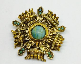 Brooch signed / R / with perl and glass blue color