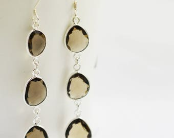 Smoky Bezel Earring , Sterling Silver Earring , Smoky Unusual Shape Dangling Silver Earring