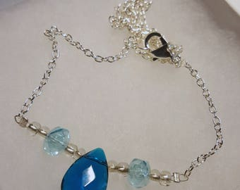 Bead Necklace, Blue Necklace, Tear Drop, Jewel Necklace, Silver Necklace