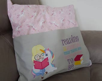 Unicorn reading pillow, reading pillow, unicorn