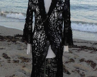 Black long Cardigan crochet