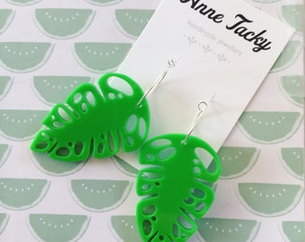 Large amazon LEAF laser cut acrylic green earrings studs tacky festival wear kitsch retro style