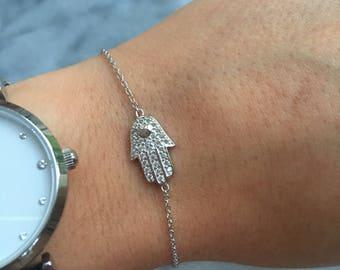 Sterling Silver Cubic Zirconia Hamsa Hand of Fatima Bracelet