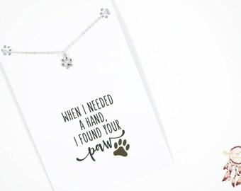 Silver paw  bracelet | paw print bracelet, animal bracelet, minimalist bracelet, gift for her, quote card, dog, cat, animal, gift, bohemian