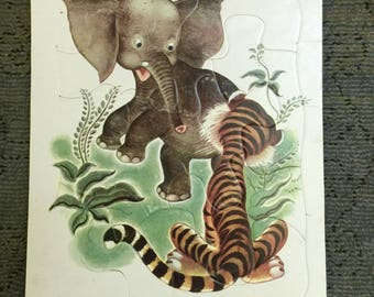 Vintage Playskool Puzzle Elephant & Tiger Printed in USA