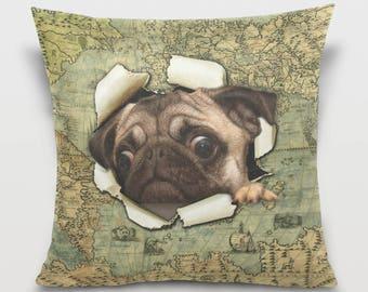 Vintage Map Cute Pug Dog Throw Pillow Cover Dog Pillowcase Room Dorm Decor Sofa Decorative