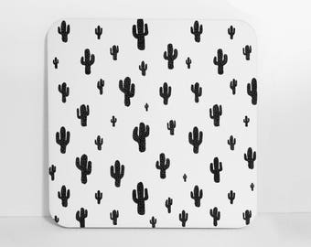 Black and White Cactus Coasters, Set of Coasters, Set of 4 Coasters, Cork Back Coasters, Drink Coasters, Bar Accessories, Beverage Coasters